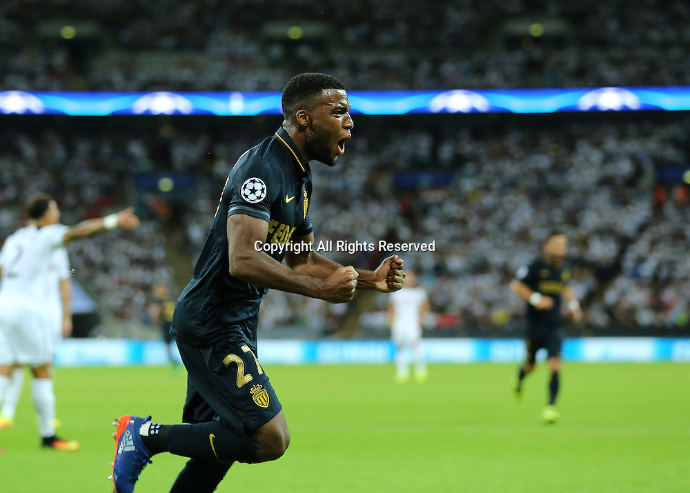 14.09.2016. Wembley Stadium, London, England. UEFA Champions League Football. Tottenham Hotspur versus Monaco. AS Monaco Midfielder Thomas Lemar scores past Tottenham Hotspur Goalkeeper Hugo Lloris and celebrates his goal, 2-0