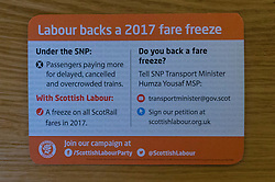 Scottish Labour launch a leaflet promoting their rail fare freeze policy, as well as a further breakdown of the impact of a rail fare freeze.  The leaflet is in the style of a rail ticket.  <br /> <br /> Pictured: New Scottish Labour Fare Freeze leaflet
