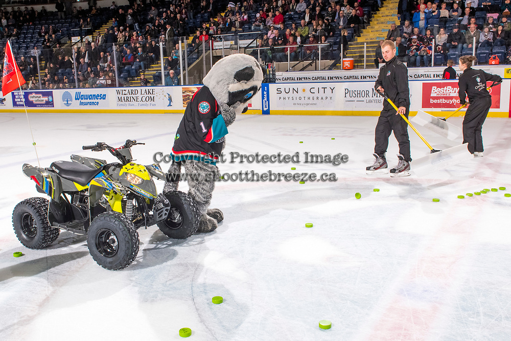 KELOWNA, CANADA - NOVEMBER 21:  Rocky Raccoon, the mascot of the Kelowna Rockets looks for the winning puck of the Subway chuck a puck promotion on November 21, 2018 at Prospera Place in Kelowna, British Columbia, Canada.  (Photo by Marissa Baecker/Shoot the Breeze)