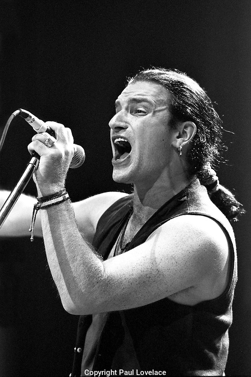 Bono performs in London in the late 1980's at Wembley.