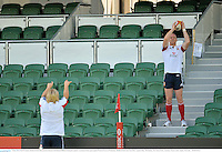 4 June 2013; Paul O'Connell, British & Irish Lions, practices lineouts with Richard Hibbard during the captain's run ahead of their game against Western Force on Wednesday. British & Irish Lions Tour 2013, Captain's Run, Nib Stadium, Pier Street, Perth, Australia. Picture credit: Stephen McCarthy / SPORTSFILE
