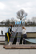 London. Great Britain, General Views. Crew members stacking blades outside Auriol Kensington BC.  Boathouse and slipway. 2010 Women's Head of the River Race, Raced over the reverse Championship Course, Chiswick to Putney, River Thames, England,  Saturday   13/03/2010 [Mandatory Credit. Peter Spurrier/Intersport Images]