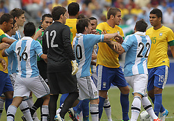 JUNE 09 2012:   Players of Argentina of Brazil argue after a foul by Ezequiel Lavezzi (22) during an international friendly match at Metlife Stadium in East Rutherford,New Jersey. Argentina won 4-3.