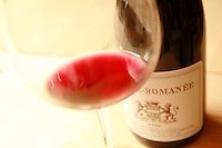 a glass of Vosne-Romanee, by  winemaker Louis-Michel Liger Belair...Photo by Owen Franken for the NY Times..May 27, 2008.
