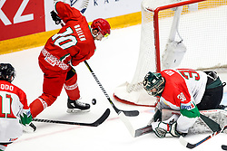 Nick Bailen of Belarus vs Adam Vay of Hungary during ice hockey match between Belarus and Hungary at IIHF World Championship DIV. I Group A Kazakhstan 2019, on April 30, 2019 in Barys Arena, Nur-Sultan, Kazakhstan. Photo by Matic Klansek Velej / Sportida