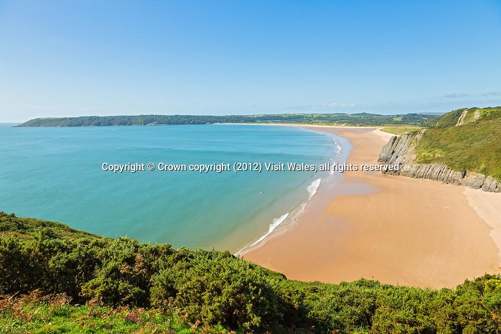 Tor Bay<br /> View towards Oxwich<br /> Beach near Penmaen<br /> Gower Peninsula<br /> Swansea County<br /> South<br /> Coastal Scenery