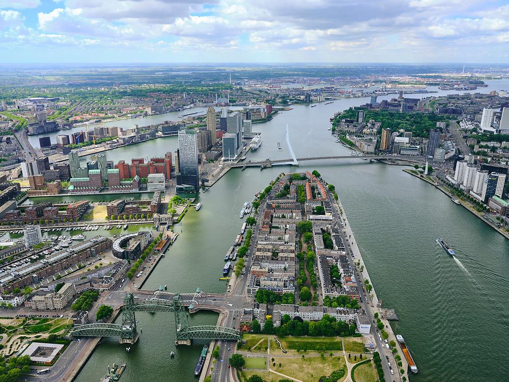 Nederland, Zuid-Holland, Rotterdam, 14-05-2020; Nieuwe Maas met Noordereiland, Koningshaven met Koningshavenbrug De Hef. Gezien naar de Erasmusbrug en Kop van Zuid. <br /> Nieuwe Maas with Noordereiland, Koningshaven with Koningshavenbrug De Hef. In the direction of the Erasmus Bridge.<br /> <br /> luchtfoto (toeslag op standard tarieven);<br /> aerial photo (additional fee required)<br /> copyright © 2020 foto/photo Siebe Swart