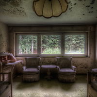 Old very moldy hotel.<br /> Hotel Schimmelig interior with chairs