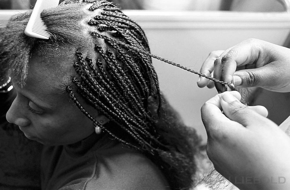 Hair braiding, Harlem.
