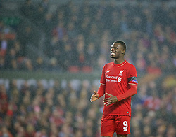 LIVERPOOL, ENGLAND - Thursday, November 26, 2015: Liverpool's Christian Benteke  missing a chance against FC Girondins de Bordeaux during the UEFA Europa League Group Stage Group B match at Anfield. (Pic by David Rawcliffe/Propaganda)