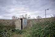 © Licensed to London News Pictures. 22/10/2017. Bawdsey, UK.  A toilet facilities lies abandoned. RAF Bawdsey, WW2 radar and Cold-War Bloodhound Surface to Air Missile (SAM) base at Bawdsey Ferry, Suffolk, today 22nd October 2017. The base was decommissioned in 1991 leaving behind a deserted base.  Photo credit: Stephen Simpson/LNP