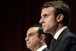 Economy Minister Emmanuel Macron and Renault car maker CEO, Carlos Ghosn give a press conference during the inauguration of a new production line, in Sandouville, northern France, on September 30, 2014. Photo by Stephane Lemouton/ABACAPRESS.COM