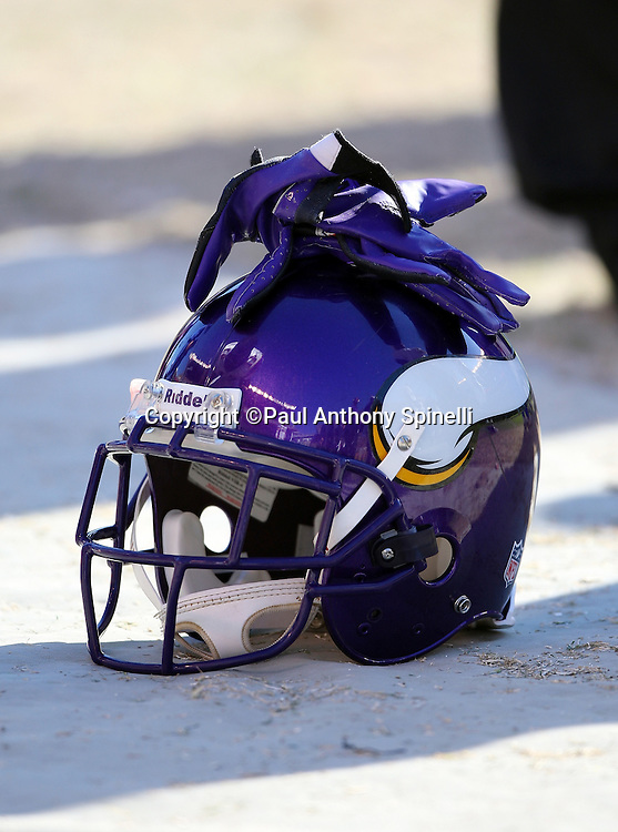 A Minnesota Vikings helmet and gloves sits on the sideline during the NFL football game against the Pittsburgh Steelers, October 25, 2009 in Pittsburgh, Pennsylvania. The Steelers won the game 27-17. (©Paul Anthony Spinelli)
