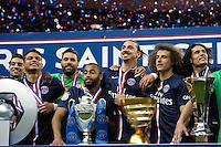 Joie PSG - Thiago Silva / Salvatore Sirigu / Lucas Moura / Zlatan Ibrahimovic / David Luiz / Edinson Cavani - 30.05.2015 - Auxerre / Paris Saint Germain - Finale Coupe de France<br />Photo : Andre Ferreira / Icon Sport