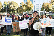 SACRAMENTO, CALIFORNIA– October 3, 2019: Sarath Suong leads anti-deportation demonstrators in a chant protesting the detentions and deportations of Cambodian Americans by ICE in front of the downtown Immigration and Customs Enforcement (ICE) office on October 3, 2019 in Sacramento, CA. Similar rallies were held in cities across the United States today.  Credit: Salgu Wissmath for NBC News.