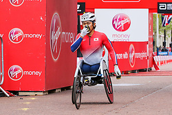 © Licensed to London News Pictures. 28/04/2019. London, UK.  Japan's Tomoki Suzuki finished third at the men's wheelchair race at the London Marathon 2019. Photo credit: Dinendra Haria/LNP