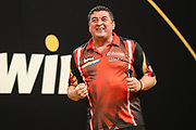 Mensur Suljovic beats Dimitri Van den Bergh to reach the semi final during the 2018 Grand Slam of Darts at Aldersley Leisure Village, Wolverhampton, United Kingdom on 16 November 2018. Picture by Shane Healey.