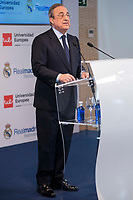 President of Real Madrid, Florentino Perez during the presentation of the sponsorship agreement between Real Madrid baloncesto and Universidad Europea at Santiago Bernabeu Stadium in Madrid, Spain September 06, 2017. (ALTERPHOTOS/Borja B.Hojas)