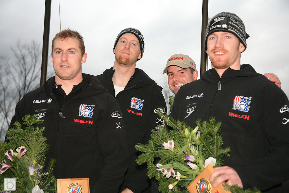 Driver Mike Kohn with brakeman Curt Tomasevicz and pushers TJ Burns and Alex Sprague on the podium after winning the Silver medal at the U.S. Bobsled Nationals 4-man Bobsled Competition at the Olympic Sports Complex in Lake Placid, N.Y. on Saturday, January 6 2007.<br />