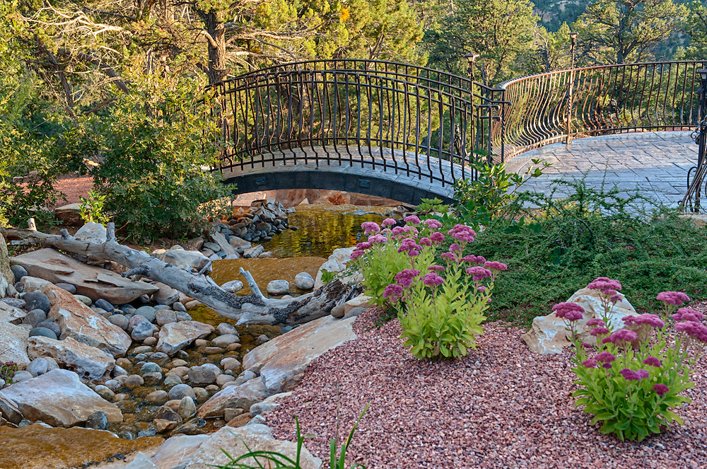 Water feature, pond, stream and waterfall at an estate in east Zion Ponderosa, Utah.
