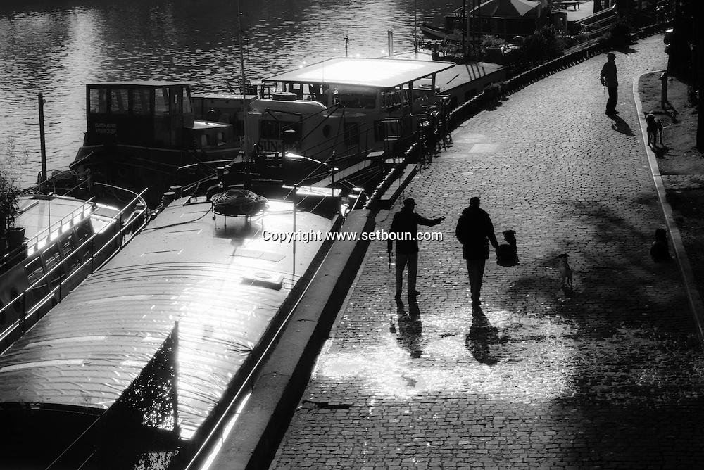 France. Paris. 6th district. Barges Quay Conti ,  / Quai Conti