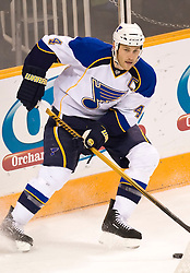 January 6, 2010; San Jose, CA, USA; St. Louis Blues defenseman Eric Brewer (4) during the second period against the San Jose Sharks at HP Pavilion. San Jose defeated St. Louis 2-1 in overtime. Mandatory Credit: Jason O. Watson / US PRESSWIRE