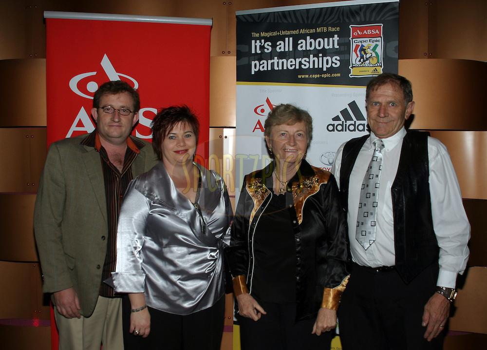 Dirk Koekemoer, Hannes Koekemoer, Vera Koekemoer and Petra Koekemoer during the 2011 ABSA Cape Epic Dinner held at The Venue in Melrose Arch, Johannesburg, South Africa on the 27 October 2010..Photo by:  Trevor Kolk/SPORTZPICS