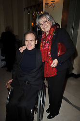 JASON COURAGE and his mother SALLY ASPINALL at a party to celebrate the publiction of 'No Invitation Required' by Annabel Goldsmith, held at Claridge's, Brook Street, London on 11th November 2009.