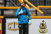 Forest Green Rovers goalkeeper Sam Russell(23) gives the thumbs up during the warm up during the Vanarama National League match between Southport and Forest Green Rovers at the Merseyrail Community Stadium, Southport, United Kingdom on 17 April 2017. Photo by Shane Healey.