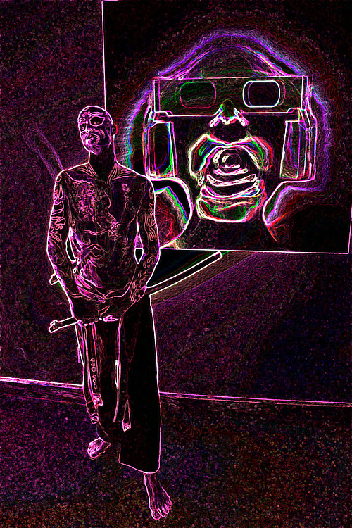 Trippy image of a man with a samurai sword beneath a face wearing 3D cinema glasses.