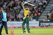 Alex Hales of Nottinghamshire Outlaws celebrates reaching 50 runs during the Vitality T20 Blast North Group match between Nottinghamshire County Cricket Club and Worcestershire County Cricket Club at Trent Bridge, West Bridgford, United Kingdon on 18 July 2019.