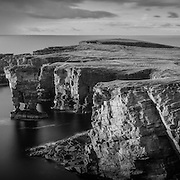 Dusk light over the Sea stack at Yesnaby of the weat coast of Orkney at dusk