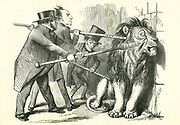 Who Will Rouse Him?':  Reform of Parliament - extension of the franchise. John Bright, Benjamin Disraeli and Lord John Russell (left to right) attempting to prod the British Lion into accepting a Reform Bill. John Tenniel cartoon from 'Punch', London, 12  March 1859.