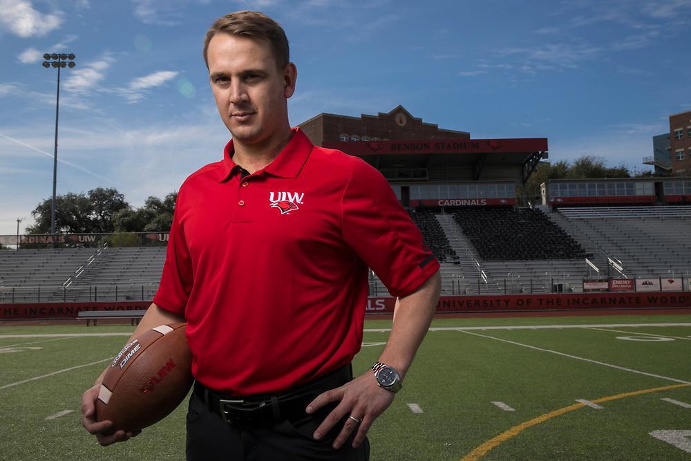 Jan 4, 2018; San Antonio, TX, USA; University of the Incarnate Word football head coach Eric Morris poses for a photo. (Soobum Im / The University of the Incarnate Word)