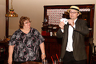 """J. Gary Thompson (right) during Mayhem & Mystery's production of """"County Fair Commotion"""" at the Spaghetti Warehouse in downtown Dayton, Monday, July 11, 2011."""