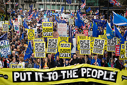 © Licensed to London News Pictures. 23/03/2019. London, UK. Thousands of demonstrators take part in the 'Put It To The People march' through central London. The People's Vote Campaign are calling for a second referendum on the United Kingdom's membership of the European Union. Photo credit: Peter Macdiarmid/LNP