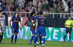 03-03-2007 VOETBAL: SEVILLA FC - BARCELONA: SEVILLA  <br /> Sevilla wint de topper met Barcelona met 2-1 / Rode kaart voor Gianluca Zambrotta met oa Puyol, Eto O en Ronaldinho - boarding unibet.com<br /> ©2006-WWW.FOTOHOOGENDOORN.NL