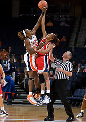 Virginia center Aisha Mohammed (33) and Richmond forward/center Crystal Goring (55) compete for the opening tip.  The Virginia Cavaliers women's basketball team faced the Richmond Spiders at the John Paul Jones Arena in Charlottesville, VA on November 18, 2007.