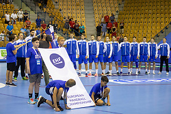 Players of Slovenia during handball match between National teams of Slovenia and Iceland in Main Round of 2018 EHF U20 Men's European Championship, on July 25, 2018 in Arena Zlatorog, Celje, Slovenia. Photo by Urban Urbanc / Sportida