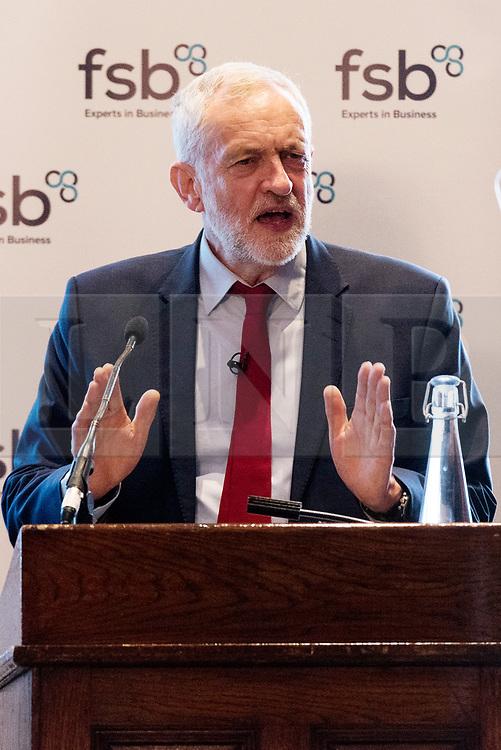 © Licensed to London News Pictures. 11/04/2017. Opposition leader Jeremy Corbyn MP makes a keynote speech to members of the Federation of Small Businesses. London, UK. Photo credit: Ray Tang/LNP