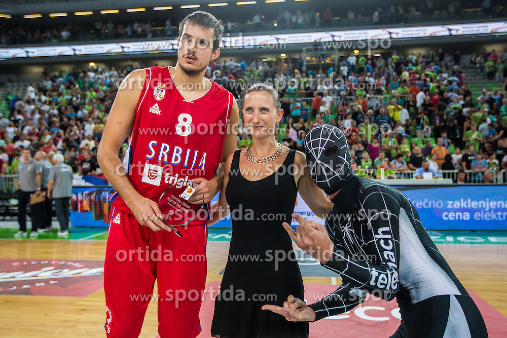 Martin Bogdanov of Serbia and Ditka Mavcec of Slovenia during friendly basketball match between National teams of Slovenia and Serbia in arena Stozice, on August 23 in Ljubljana, Slovenia. Photo by Grega Valancic / Sportida August 27, 2015