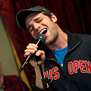 """December 5, 2013 - New York, NY: The cast of the NBC musical drama television series """"Smash"""" including Jeremy Jordan, who is pictured here, rehearse at Smash Studios at 36th Street in Manhattan on Thursday afternoon in preparation for their cabaret performance of """"HIT LIST,"""" which will premiere Sun, Dec 8 at 54 Below.  CREDIT: Karsten Moran for The New York Times"""