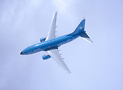 Looking down on airliner in flight