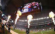 Fire shoots in the air during Dallas Cowboys player introductions before the NFL week 6 football game against the Washington Redskins on Sunday, Oct. 13, 2013 in Arlington, Texas. The Cowboys won the game 31-16. ©Paul Anthony Spinelli