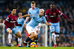 Sergio Aguero of Manchester City goes past Felipe Anderson and Pedro Obiang of West Ham United - Mandatory by-line: Robbie Stephenson/JMP - 27/02/2019 - FOOTBALL - Etihad Stadium - Manchester, England - Manchester City v West Ham United - Premier League
