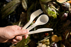 Stanford Recycling center. Biodegradable utensils and containers. Below are food waste.