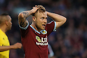 Scott Arfield of Burnley reaction to going close with a shot during the Sky Bet Championship match between Burnley and Middlesbrough at Turf Moor, Burnley, England on 19 April 2016. Photo by Simon Brady.