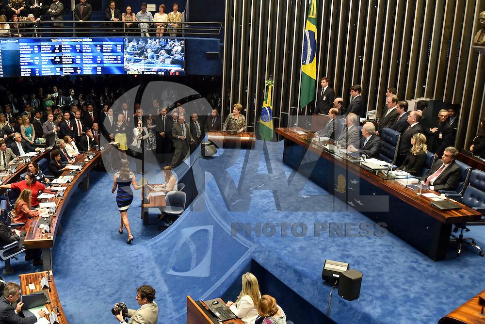 BRASILIA, DF – 29.08.2016 – SENADO–IMPEACHMENT – A presidente afastada, Dilma Rousseff durante sessão, que discute e vota o seu impeachment no Senado Federal em Brasília. A presidente afastada vem ao Senado para fazer sua defesa nesta segunda-feira, 29. (Foto: Ricardo Botelho/Brazil Photo Press)