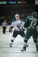 KELOWNA, CANADA - JANUARY 23: Rourke Chartier #14 of Kelowna Rockets faces off against Remi Laurencelle #13 of Everett Silvertips on January 23, 2015 at Prospera Place in Kelowna, British Columbia, Canada.  (Photo by Marissa Baecker/Shoot the Breeze)  *** Local Caption *** Rourke Chartier;