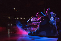 KELOWNA, CANADA - NOVEMBER 20: The Kelowna Rockets inflatable entrance called Ogi breathes smoke onto the ice at the opening of the game against the Edmonton Oil Kings on November 20, 2015 at Prospera Place in Kelowna, British Columbia, Canada.  (Photo by Marissa Baecker/Getty Images)  *** Local Caption ***